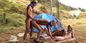 Latin Bareback Group Sex With Campers