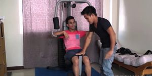 Asian Boy Warren Gets Hog Tied And Gym Tickled