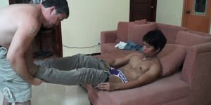 Foot Licking Daddy Fucks Cute Asian Twink Hermis
