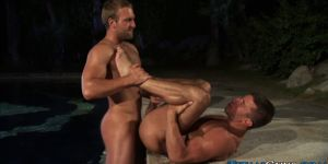 Buff hunk jizz outdoors