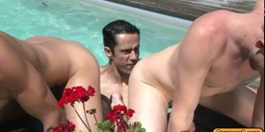 Outdoor Blowjob Throat Fucking And Twink Threesome