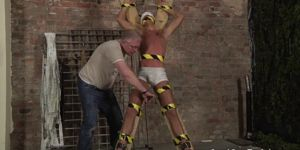 Old Man And Shy Twink Slave Boy Made To Squirt
