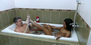 Asian Twink Jerking With Oldman In Tub