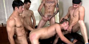 Four Muscled Hunks Turn A Dudes Ass Out