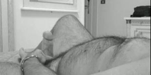 Wanking And Cumming In Black And White