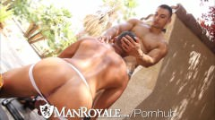 Manroyale Muscled Latino Sucks During Outdoor Workout