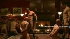 Strong Large Gay Hunks Bring Sex Slaves Forcing Them To Submit An