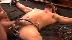 Cbt I Squeeze My Bottom`s Balls Using Wood Clamps.