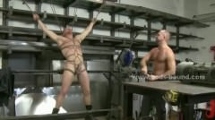 Strong Man In Workshop Gets Tied And Perverted Getting Whipped An