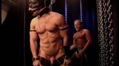 Masked Muscle Stud In Bondage Gets A Flogging And Whipping To His