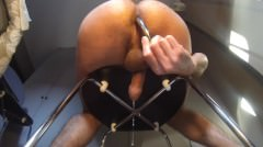 Milking My Cock With A Big Metal Dildo Pressing My Prostate