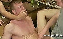 Hunk Is Tied Up And Forced To Fuck An Inflatable Toy While Having His Dick Jerked Off
