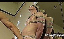 Man Is Tied Up And Blindfolded By An Asian Master Who Jerks Off His Cock And Caresses His Balls
