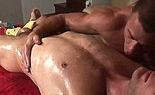 Straight Amateur Hunk Turns With Toy During Massage