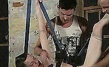 Suspended And Clothespinned Stud Gets Double Teamed