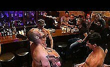 Tied Up Muscle Gay Gangbanged In Public Bar