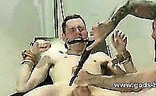 Gay Slave Wrapped And Bound In Cuffs Filled With Bondage Toys Masturbated Then Penetrated