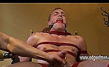 Bondage Green Gay Boy Tied In Ropes On A Chair While Master Gives Him A Handjob Teasing Him