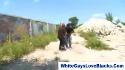 Interracial Cock Sucking Outdoors