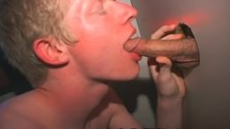 Blonde Boy Blows Boners Thru Glory Hole!