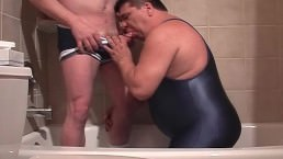 Guy In Swimsuit Sucks Cock