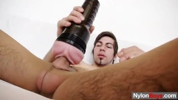 A Homo In Nylons Rubs His Fat Dick Till Cums