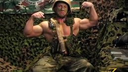 Army Bodybuilder Soldier Flexing And Showing Off. Jack Off
