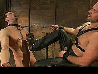 Bound Gay Gets Tit Torment And Cock Jerked Off In Dungeon