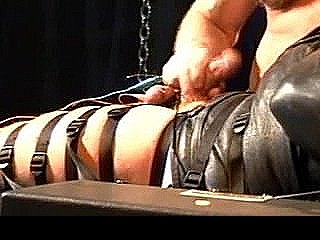 Muscle Hunk Is Prepped In Leather Straitjacket For Cbt With High Voltage Stim To Balls.