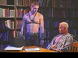 Vintage Muscled Studs In Leather Stretching Ass In Quiet Library