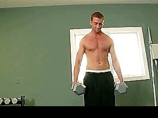 Hot Jock Works Out Before Stroking Cock
