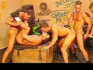 Five Handsome Bikers In A Hot Orgy At The Bike Shop