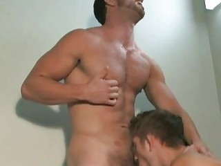 Two Naughty Dark Haired Gay Dudes Sucking Dicks In The Office