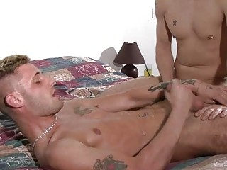 Horny Blonde Gay Gives Passionate Blowjob On His Knees