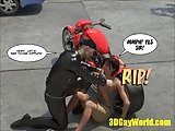 Pleasing Of Gay Biker 3d Male Cartoon Anime Comics Story