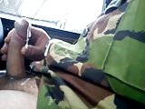 Army Man Wanking In The Car.