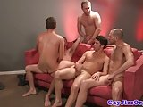 Group Of Jocks Jumping On Dicks