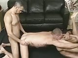 Threesome On Black Couch