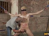 Blindfolded And Strapped Twink Gets Handjob And Blowjob