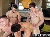Four Hunks Having A Hardcore Orgy Sex In A Various Poses