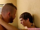 Inked Buff Hunk Gets To Hard Fuck A Twinks Tight Butt Hole